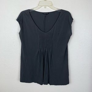 Eileen Fisher Grey Pleated Short Sleeve Blouse Top